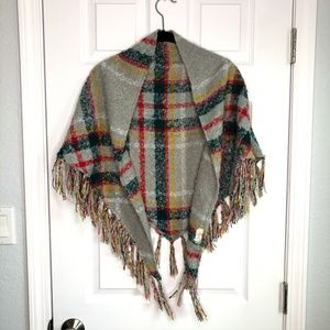 Free People Plaid Gray Bohemian Wrap Fringe Shawl